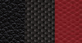 High-durability technical grain vinyl with embroidered logo and embossed tire tread pattern - Two-tone Radar Red/Black with Light Slate Grey accent stitching